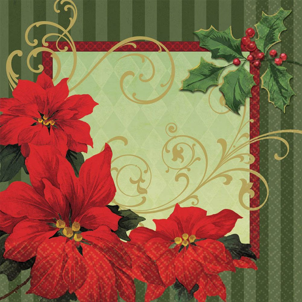Vintage Poinsettia Luncheon Napkins (36 Pack) BB719543