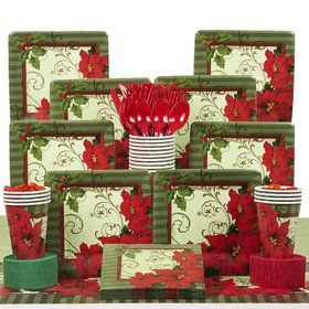 Vintage Poinsettia Party Deluxe Tableware Kit Serves 18