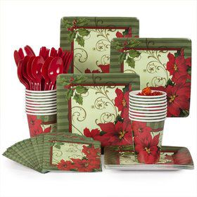Vintage Poinsettia Party Standard Tableware Kit Serves 18