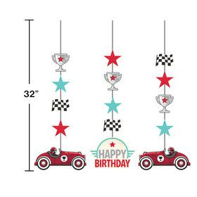Vintage Race Car Hanging Decorations