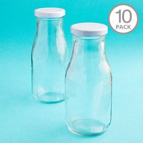 Vintage Style Glass Milk Bottle (10 Count)