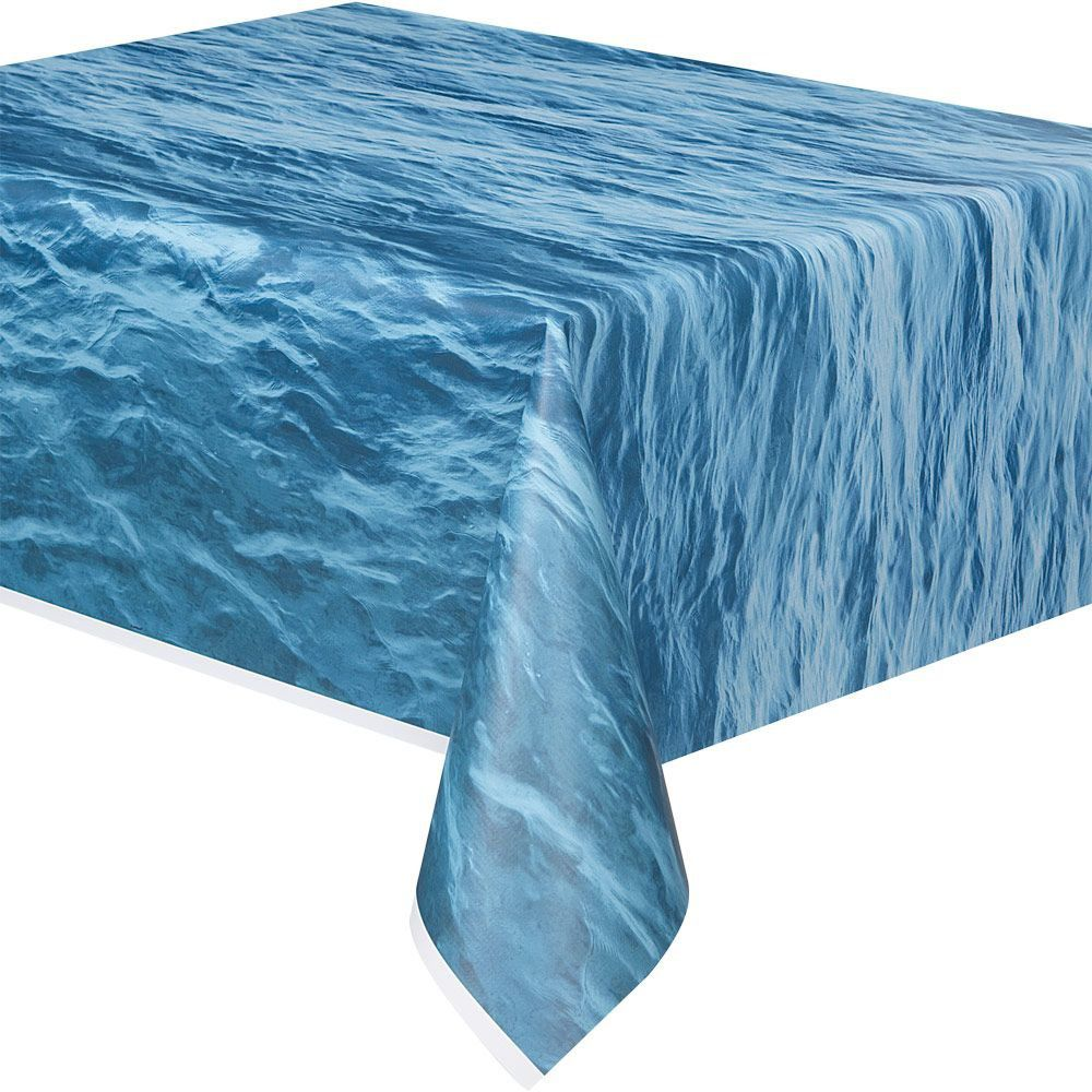 Water Print Plastic Table Cover Each