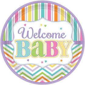 "Welcome Baby 10.5"" Plates (18 Count)"