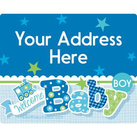 Welcome Baby Boy Personalized Address Labels (Sheet of 15)
