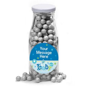 Welcome Baby Boy Personalized Glass Milk Bottles (10 Count)