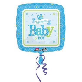 "Welcome Baby Boy Train 17"" Balloon (Each)"