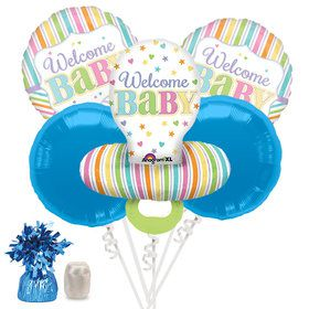 Welcome Baby Brights Baby Boy Pacifier Baby Shower Balloon Bouquet Kit