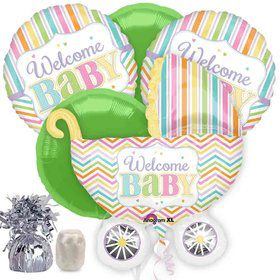 Welcome Baby Brights Baby Carriage Baby Shower Balloon Bouquet Kit