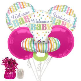 Welcome Baby Brights Baby Girl Pacifier Baby Shower Balloon Bouquet Kit