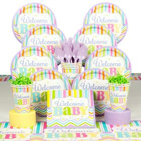 Welcome Baby Brights Baby Shower Deluxe Tableware Kit (Serves 18)