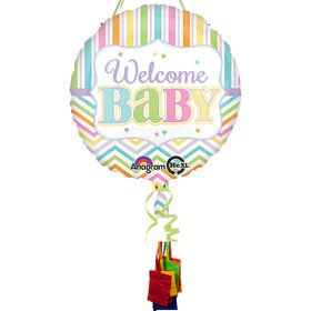 Welcome Baby Brights Baby Shower Pull String Economy Pinata