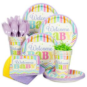 Welcome Baby Brights Baby Shower Standard Tableware Kit (Serves 18)