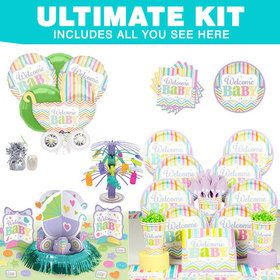 Welcome Baby Brights Baby Shower Ultimate Tableware Kit (Serves 18)