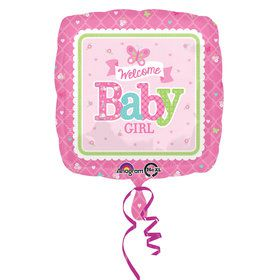 "Welcome Baby Girl Butterfly 17"" Balloon (Each)"