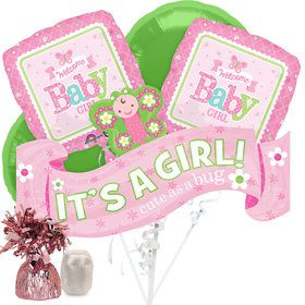 Welcome Baby Girl Butterfly Baby Shower Balloon Bouquet Kit