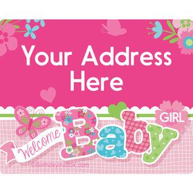 Welcome Baby Girl Personalized Address Labels (Sheet of 15)