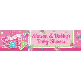 Welcome Baby Girl Personalized Banner (Each)
