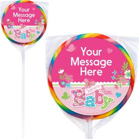 Welcome Baby Girl Personalized Lollipops (12 Pack)