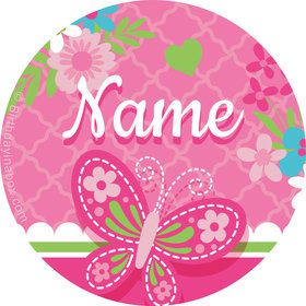 Welcome Baby Girl Personalized Mini Stickers (Sheet of 24)