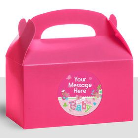 Welcome Baby Girl Personalized Treat Favor Boxes (12 Count)