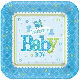 "Welcome Little One Boy 10"" Plate (8 Count)"