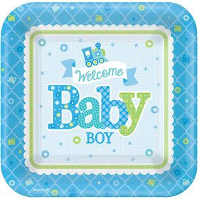 "Welcome Little One Boy 7"" Plate (8 Count)"