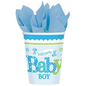 Welcome Little One Boy 9oz Cups (8 Count)