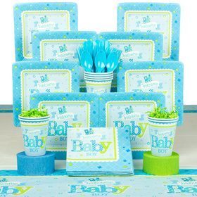 Welcome Little One Boy Baby Shower Deluxe Tableware Kit (Serves 8)
