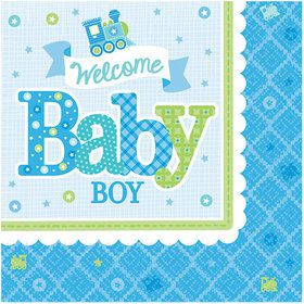 Welcome Little One Boy Beverage Napkin (16 Count)