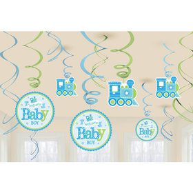 Welcome Little One Boy Foil Swirl Decorations (12 Pieces)