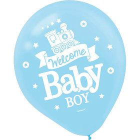 Welcome Little One Boy Latex Balloons (15 Count)