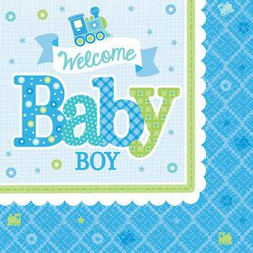 Welcome Little One Boy Luncheon Napkin (16 Count)