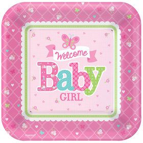 "Welcome Little One Girl 10"" Plate (8 Count)"