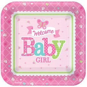 "Welcome Little One Girl 7"" Plate (8 Count)"