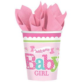 Welcome Little One Girl 9oz Cups (8 Count)