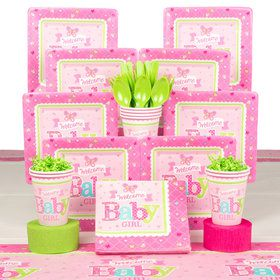Welcome Little One Girl Baby Shower Deluxe Tableware Kit (Serves 8)