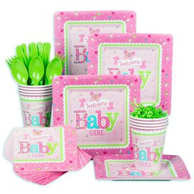 Welcome Little One Girl Baby Shower Standard Tableware Kit (Serves 8)