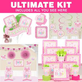 Welcome Little One Girl Baby Shower Ultimate Tableware Kit (Serves 8)