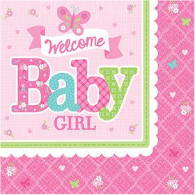 Welcome Little One Girl Beverage Napkin (16 Count)