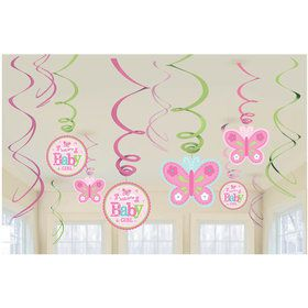 Welcome Little One Girl Foil Swirl Decorations (12 Pieces)