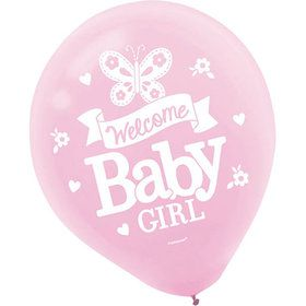 Welcome Little One Girl Latex Balloons (15 Count)