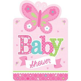 Welcome Little One Girl Postcard Invitations (8 Count)