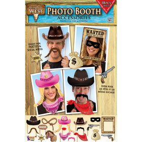 Western Photo Booth Props (18 Pieces)
