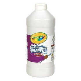 White 16 oz washable tempera paint plastic squeeze bottle