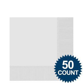 White 2-Ply Beverage Napkins, 50ct.