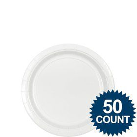 "White 7"" Paper Plate, 50 ct."