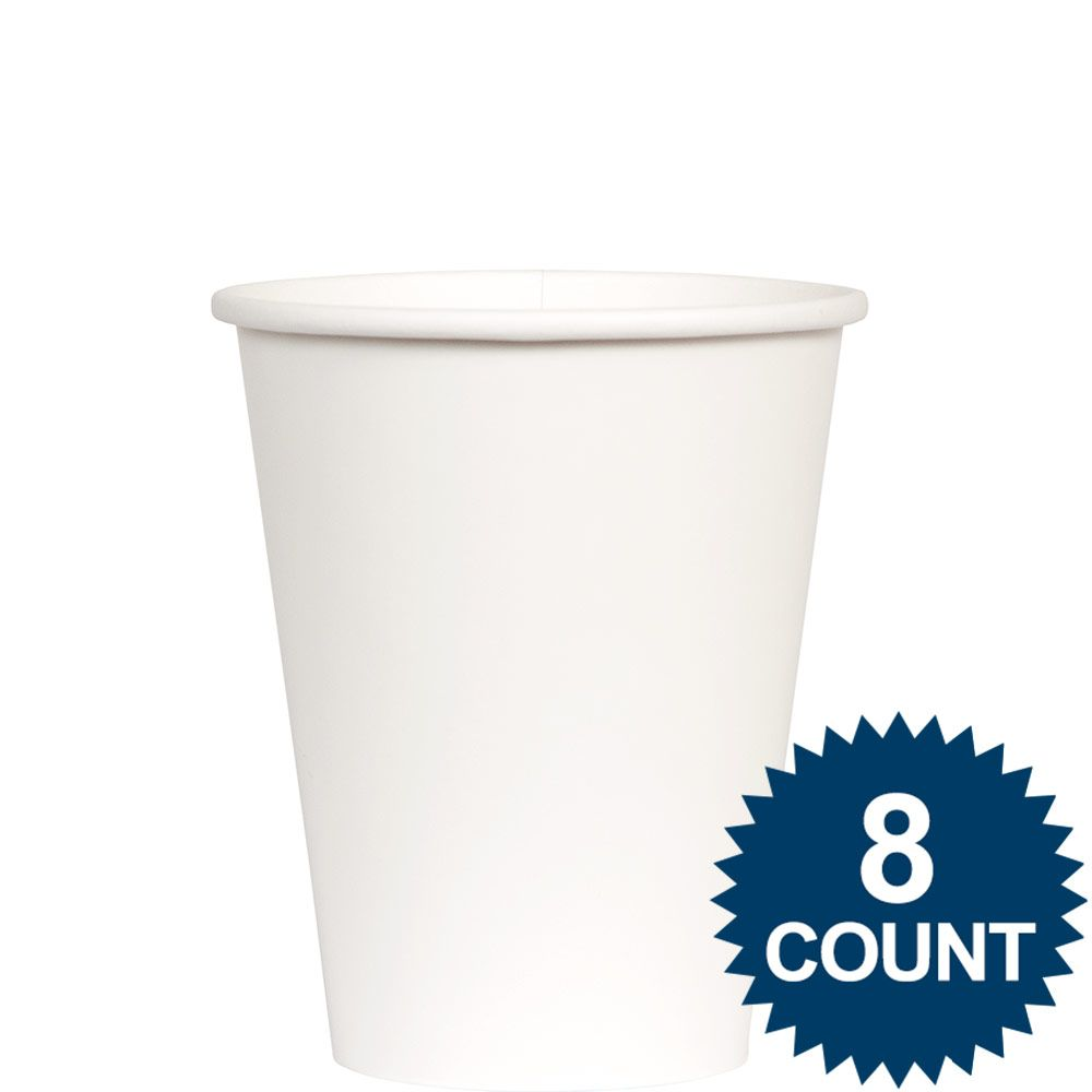 White 9 oz. Paper Cup, 8ct. - Party Supplies BB100150