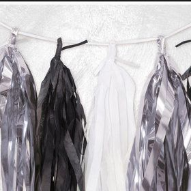 White, Black, and Silver Tissue Tassel 9' Garland
