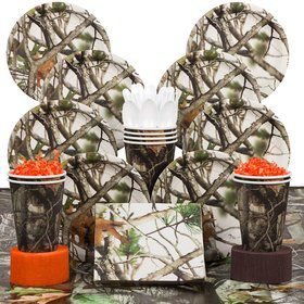 White Camo Party Deluxe Tableware Kit Serves 8