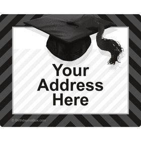 White Caps Off Graduation Personalized Address Labels (Sheet of 15)
